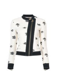 White and Black Print Biker Jacket
