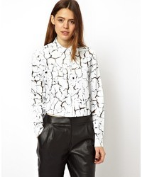 Asos shirt in cracked paint print white medium 24517