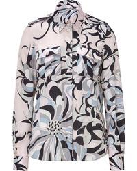 Emilio Pucci Blushblack Printed Silk Blouse