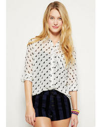 Delia's Cat Print Button Down Chiffon Blouse