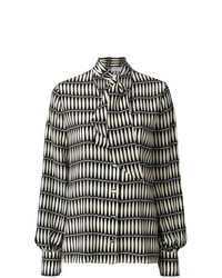 Lanvin Tile Patterned Pussy Bow Blouse
