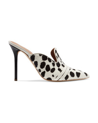 White and Black Print Calf Hair Pumps