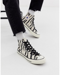 White and Black Print Canvas High Top Sneakers