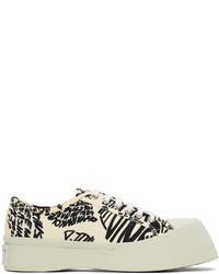 Marni Off White Black Canvas Print Pablo Sneakers