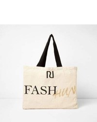 River Island Beige Fash Hun Print Shopper Tote Bag