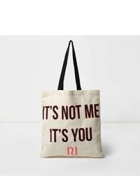 River Island Beige Its Not Me Its You Shopper Tote Bag