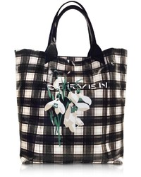Carven Black And White Plaid Canvas Tote