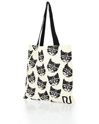 River Island Cream Cat Print Canvas Shopper