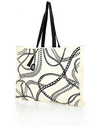 River Island Cream Chain Print Cotton Shopper