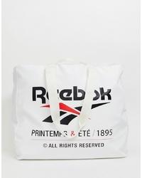 Reebok Logo Tote Bag In White