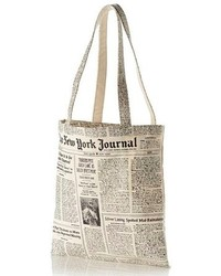 New york newspaper print canvas shopping tote black medium 102496