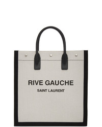 Saint Laurent Off White And Black Rive Gauche Shopping Tote