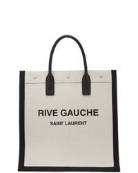 Saint Laurent Off White And Black Rive Gauche Tote