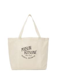 MAISON KITSUNÉ Off White Large Palais Royal Shopping Tote