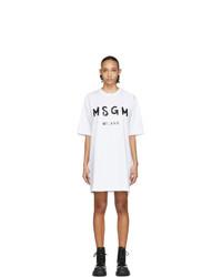MSGM White Artist Logo T Shirt Dress