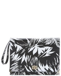 White and Black Print Clutch