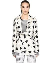 White and Black Print Coat