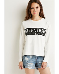 Forever 21 Contemporary Attention Graphic Textured Sweatshirt