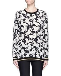 Stella McCartney Ines Running Horses Print Silk Pullover