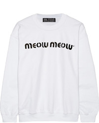 Brian Lichtenberg Meow Meow Printed Cotton Blend Jersey Sweatshirt