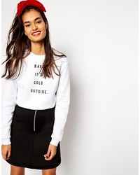 Asos Sweatshirt With Baby Its Cold Outside White