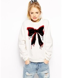 Love Moschino Sweatshirt With Dripping Bow Print White