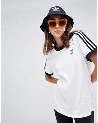 adidas Originals 3 Stripe Ringer T Shirt In White