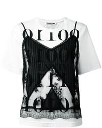MCQ Alexander Ueen Printed Lace Detail T Shirt