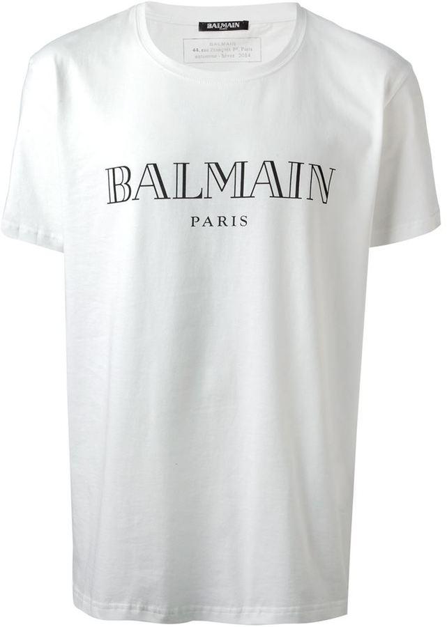 Balmain logo print t shirt where to buy how to wear for Printing logos on t shirts