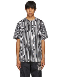 Moschino Black White Warped Glitch Logo T Shirt