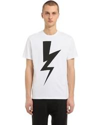 Neil Barrett Bolt Printed Cotton Jersey T Shirt
