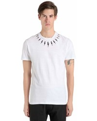 Neil Barrett Bolts Printed Cotton Jersey T Shirt