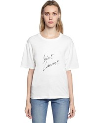 Saint Laurent Boyfriend Fit Logo Print Jersey T Shirt