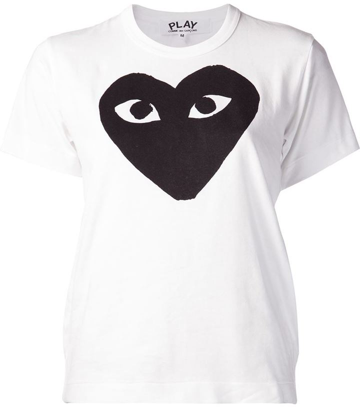 hearts print T-shirt - White Comme Des Garçons Sale Manchester Clearance Low Cost Cheap Sale Ebay Cheap Price Outlet Stockist Online ChBKOw