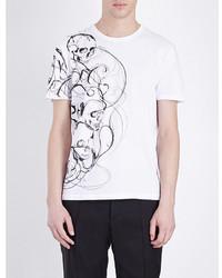 Alexander McQueen Crewneck Skull Print Cotton Jersey T Shirt