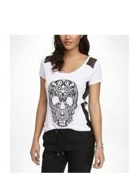 Express Lace Inset Graphic Tee Baroque Skull White Large