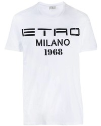 Etro Logo Print Cotton T Shirt