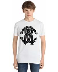 Roberto Cavalli Logo Printed Cotton Jersey T Shirt