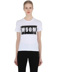 MSGM Logo Printed Cotton Jersey T Shirt