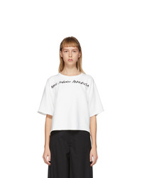 MM6 MAISON MARGIELA Off White Wide Cropped Logo T Shirt