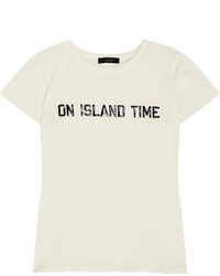 J.Crew On Island Time Printed Cotton Jersey T Shirt Off White