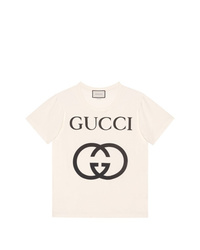 ab230e8cccb Men s White and Black Print Crew-neck T-shirts by Gucci