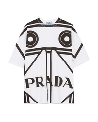 Prada Printed Cotton Jersey T Shirt