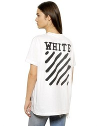 Off-White Spray Paint Effect Cotton Jersey T Shirt
