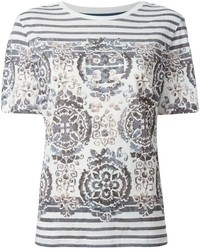 Tory Burch Striped Baroque Print T Shirt