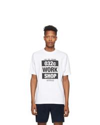 032c White Chest Print T Shirt