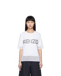 Kenzo White Dual Material Logo T Shirt