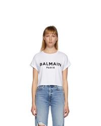 Balmain White Logo Cropped T Shirt