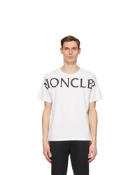 Moncler White Matt Black Logo T Shirt