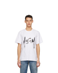 MSGM White New Brush Strokes Logo T Shirt